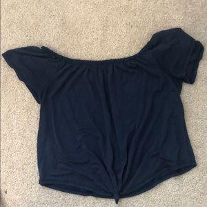 Off the shoulder navy blue top